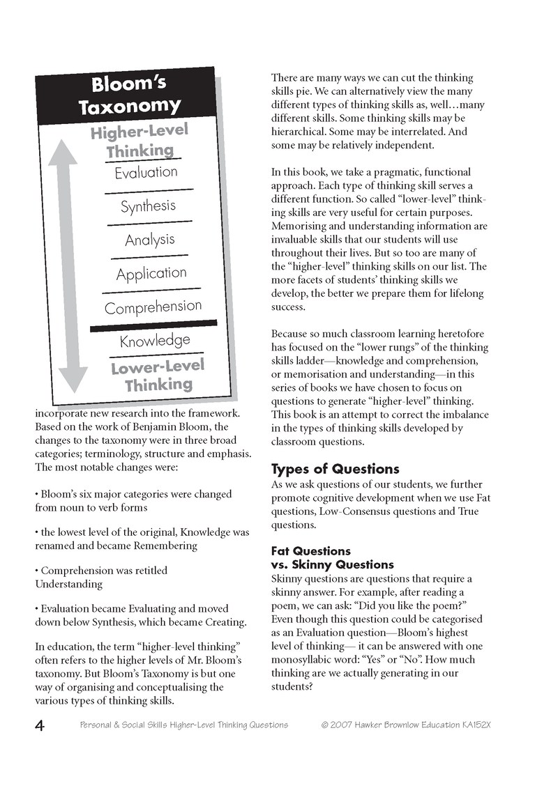 higher level thinking books personal and social skills click on the pages below to enlarge the image or click here to these and more pages as a single acrobat document