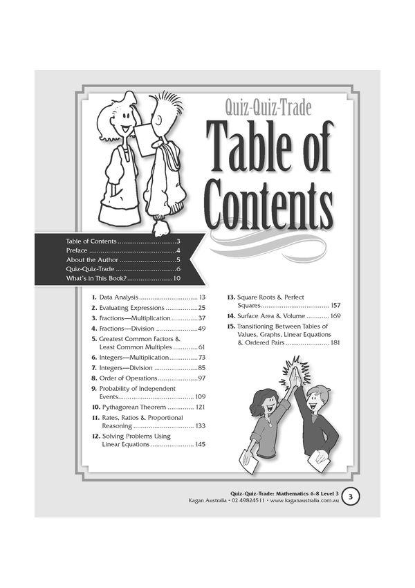 Quiz-Quiz-Trade: Mathematics Years 6-8 Level 3
